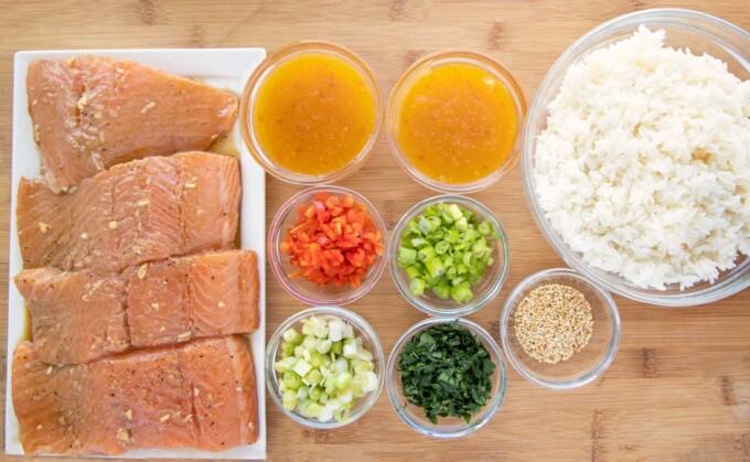 ingredients to make mango bourbon salmon