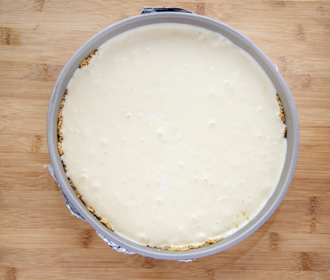 cheesecake batter in springform pan