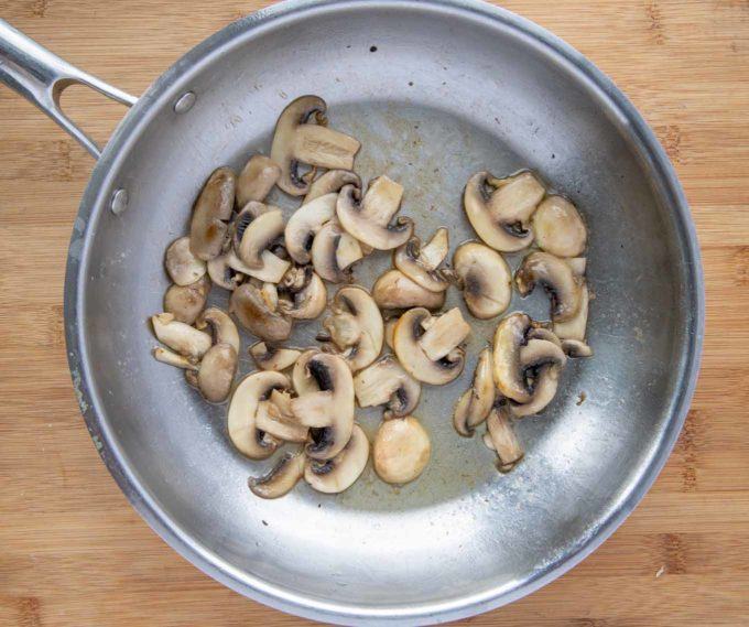 cooked mushrooms in a saute pan
