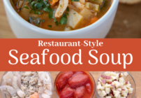 Pinterest image for seafood soup