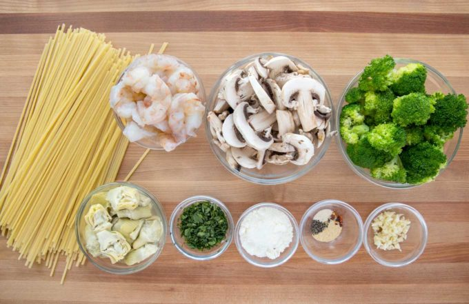 overhead view of ingredients to make shrimp and broccoli