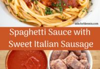 Pinterest image for spaghetti sauce with sweet Italian sausage