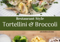 pinterest image for tortellini and broccoli