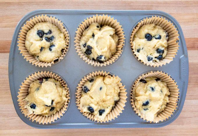 muffin batter in cupcake liners in a 6 muffin tin