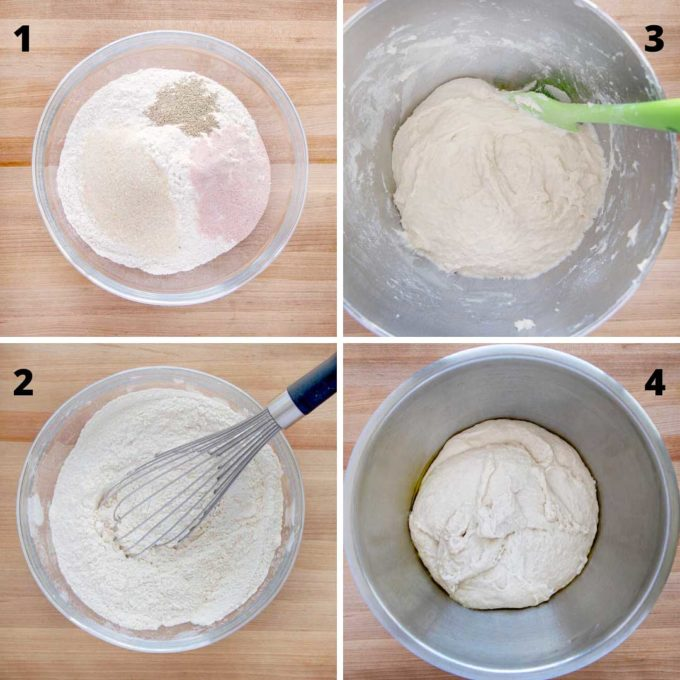 4 steps by step pictures for bread dough