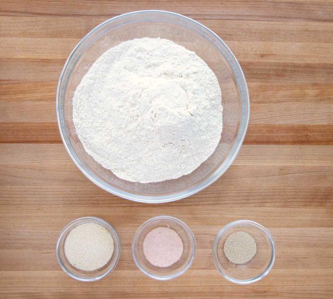 Ingredients to make homemade artisan bread