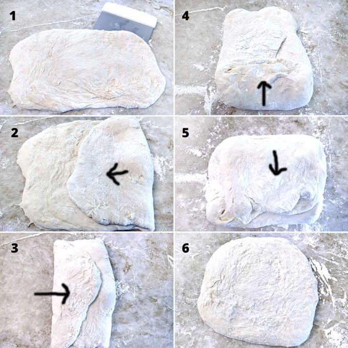 6 step by step pictures showing the process of folding the bread dough