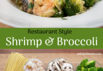 pinterest image for shrimp and broccoli