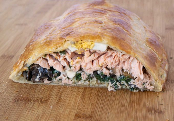 side view of Coulibiac of Salmon loaf
