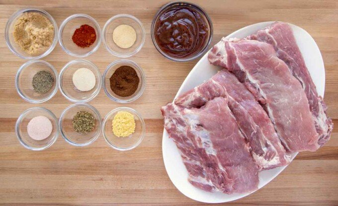 Ingredients to make baby back ribs