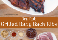 Pinterest image for dry rub grilled baby back ribs