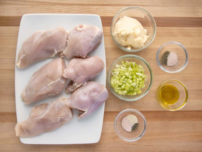 overhead view of ingredients to make chicken salad.