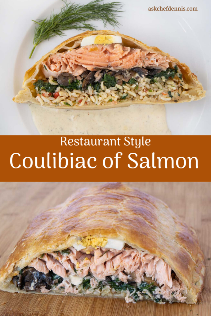 pinterest image for Coulibiac of Salmon