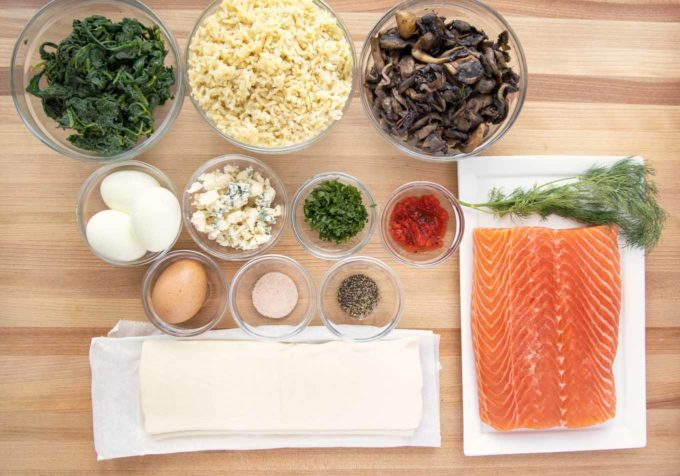 overhead view of ingredients for Coulibiac of Salmon