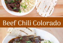 pinterest image for beef chili colorado