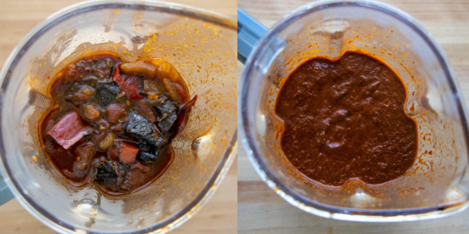2 images one of the chili sauce ingredients in a blender and one of the fully blended ingredients in the blender
