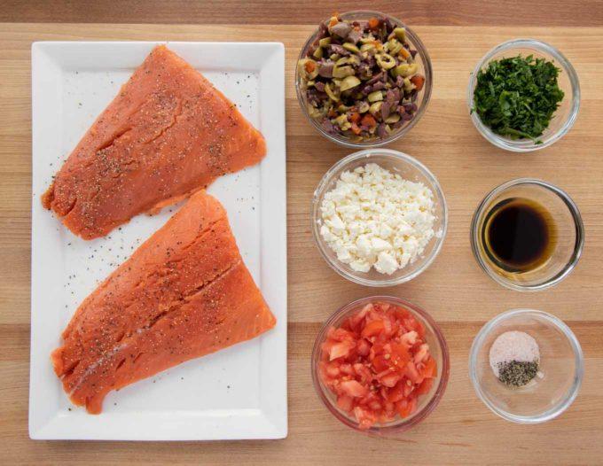 ingredients to make Mediterranean style salmon
