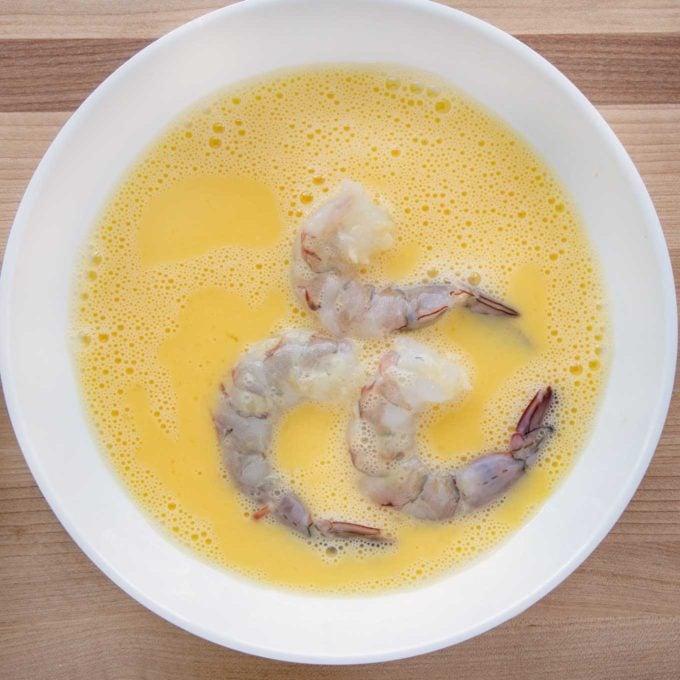 shrimp in egg wash