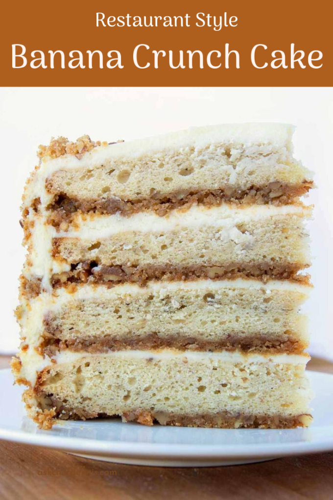 pinterest image for Banana Crunch Cake
