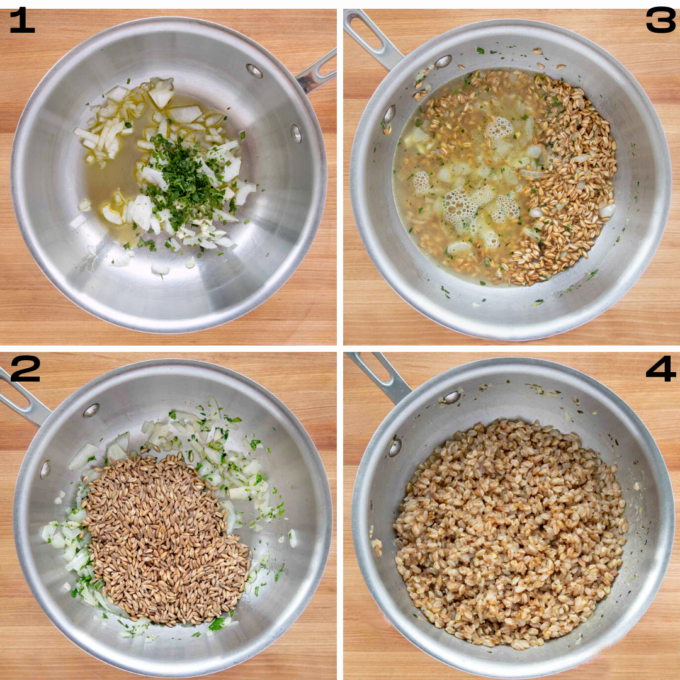 four images showing how to prepare the farro in a saute pan