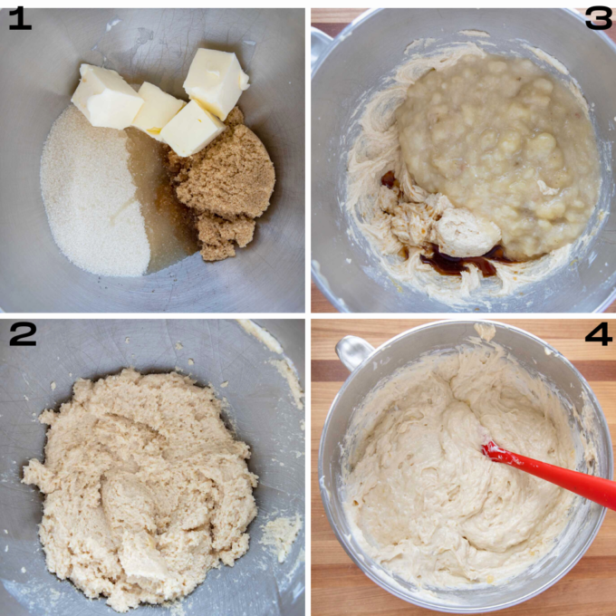 four images of cake mix in progress