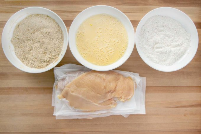 ingredients to make a breaded chicken cutlet