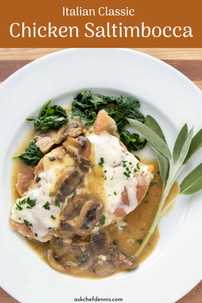 pinterest image for chicken saltimbocca