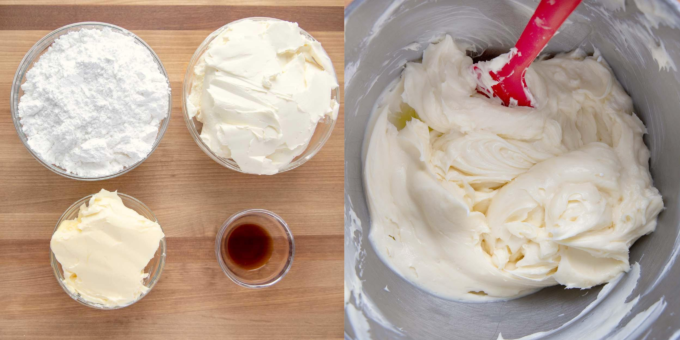 two images, one of ingredients to make cream cheese frosting and one of finished frosting in mixing bowl with red spatula