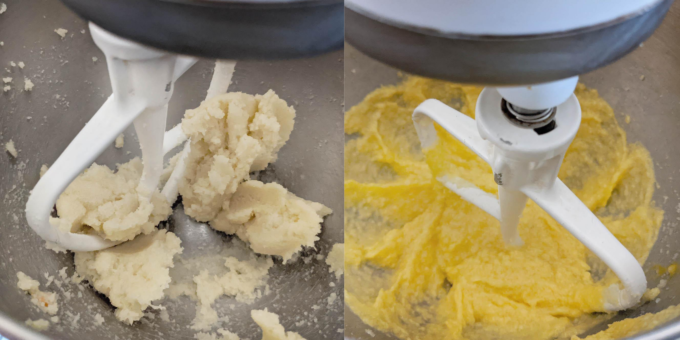 two images of creaming the butter and sugar in a stand mixer, then adding the eggs