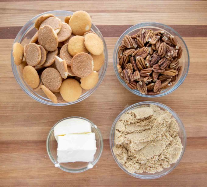 ingredients to make crunch layer in glass bowls