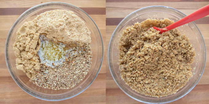 2 images of crunch for cake, one of ingredients in a bowl, the other of the crunch topping with a red spatula
