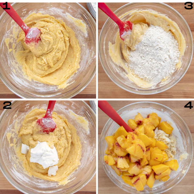 four images of the steps to make the batter for a peach buckle