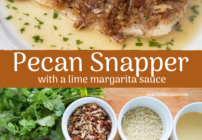 pinterest image for pecan encrusted red snapper