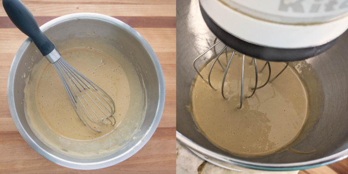 two images, one of sabayon in a stainless steel bowl with a wire whisk and one with the sabayon in a stand mixer