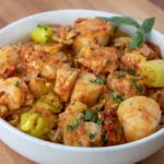 Shrimp & Scallops in a Roasted Red Pepper Sauce