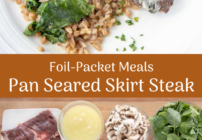 Pinterest image for pan seared skirt steak