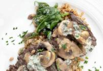 Pinterest image for pan seared skirt steak