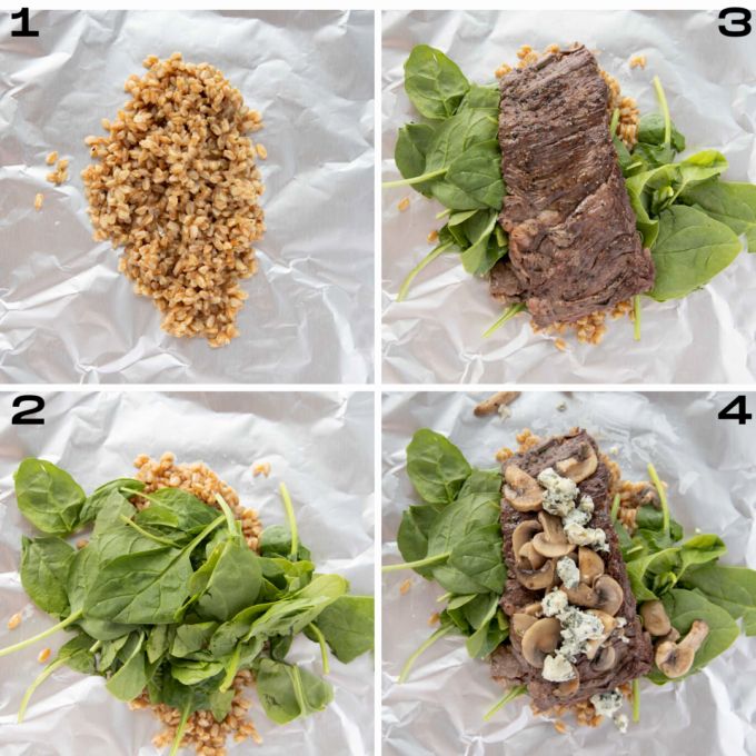 four images of the process of making the seared skirt steak foil packets