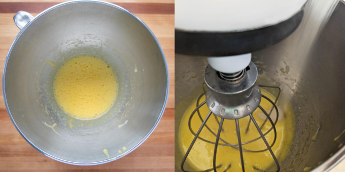 two images showing whipped eggs in mixer bowl and adding sugar to eggs while beating in a stand mixer