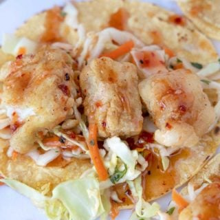 close up of baja fish tacos
