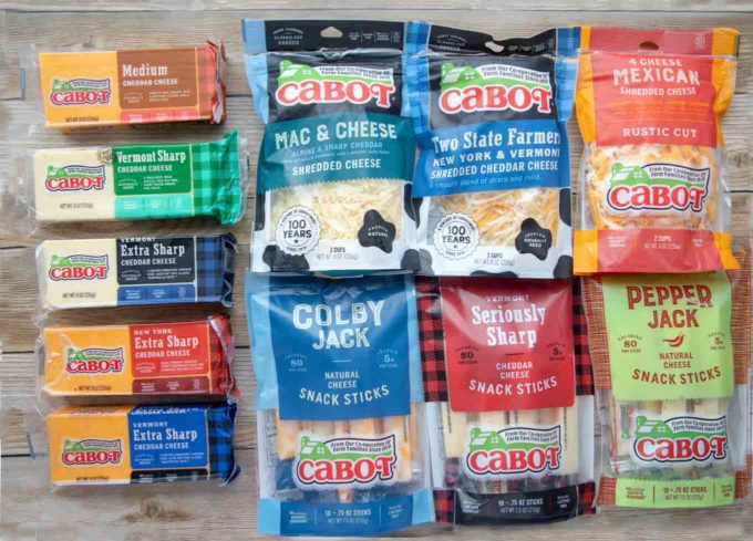 variety of packaged Cabot cheese