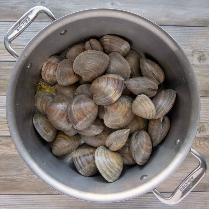 whole clams in stock pot