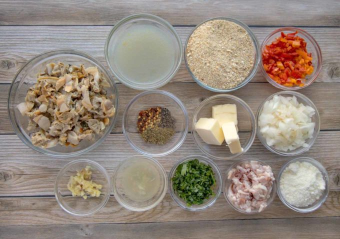 ingredients to make deviled clams in glass bowls