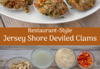 pinterest image for deviled clams
