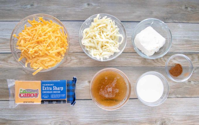 ingredients to make beer cheese sauce