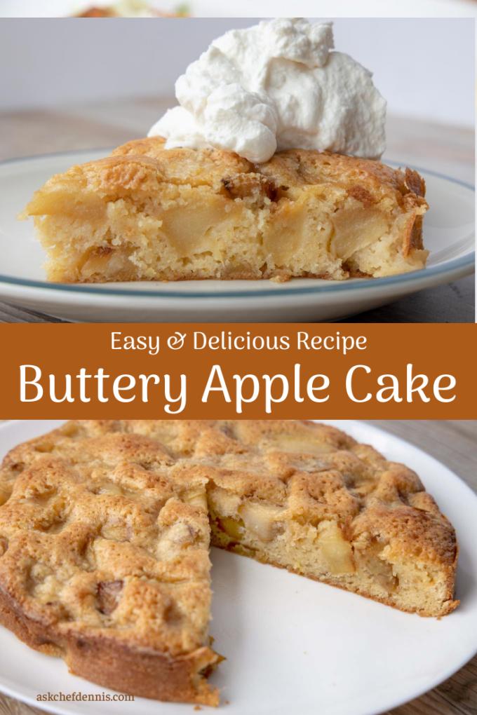 Pinterest image for buttery apple cake