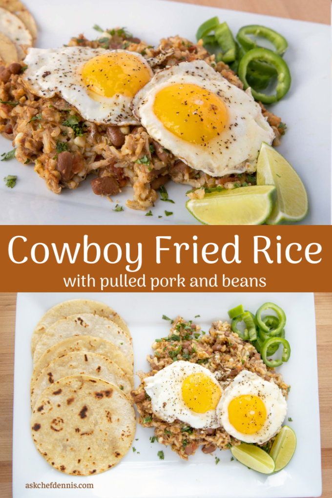 pinterest image for cowboy fried rice