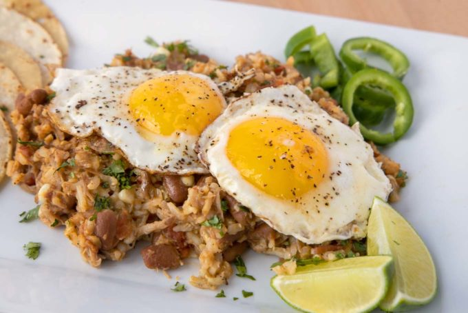 cowboy fried rice with fried eggs on top