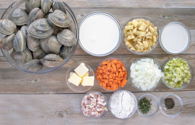 ingredients to make New England Clam Chowder