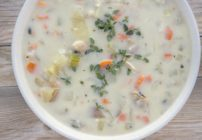 new england clam chowder in a white bowl